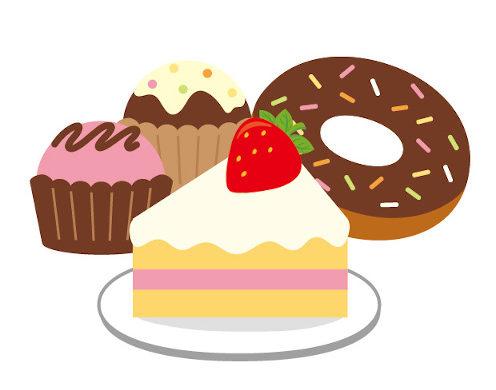ケーキやドーナツ、甘い洋菓子の画像
