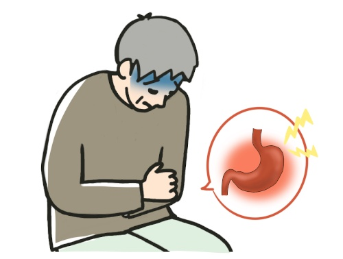 胃が痛い!胃がんの人が苦しむイラスト画像