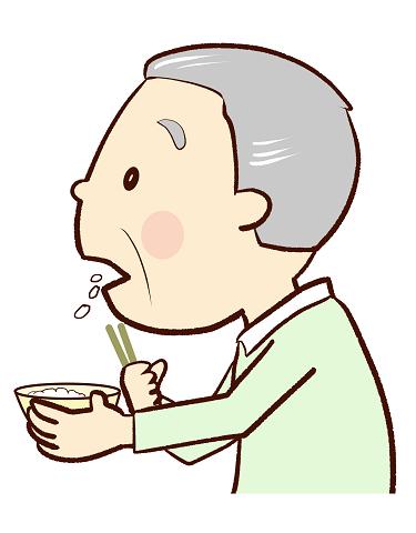 食べこぼす高齢者のイラスト画像
