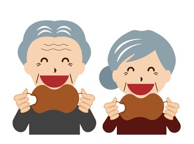 肉を食べる高齢者のイメージ画像